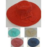 12 Units of Ladies Fashion Hat [Solid with White Stitching] - Sun Hats