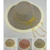 12 Units of Ladies Fashion Hat [Two-Tone/Cream Brim/Metallic Ribbon Hat Band] - Sun Hats