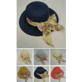 12 Units of Ladies Fashion Hat [Wide Floral Bow] - Sun Hats
