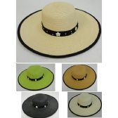 12 Units of Ladies Large-Brim Fashion Hat [Daisies & Silver Beads] - Sun Hats
