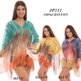 24 Units of Ladies Multi-colored Sheer Cover up - Womens Fashion Tops
