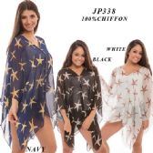 24 Units of Ladies High Low Star Print Top - Womens Fashion Tops