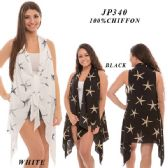24 Units of Ladies Star Print Tie Top - Womens Fashion Tops