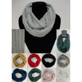 24 Units of Knitted Infinity Scarf [Sequins-Cable Knit] - Winter Scarves