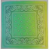120 Units of Bandana-Light Green and Yellow Paisley Fade - Bandanas