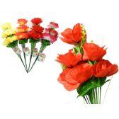 144 Units of 9 Head Rose Flower Bouquet - Artificial Flowers