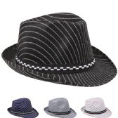 24 Units of Kids Pinstripe Fedora Hat Assorted Color With Checkered Band