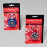 48 Units of 45mm Lock Combination w/ Hardware Blister Card in Asst Colors - Padlocks and Combination Locks