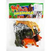 "24 Units of 6"" 5PC TOY WILD ANIMAL SET IN POLY BAG W/HEADER - Animals & Reptiles"
