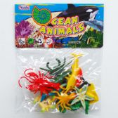 "144 Units of 12PC 2"" PLASTIC OCEAN ANIMALS IN POLY BAG W/HEADER - Animals & Reptiles"