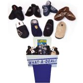 24 Units of MENS FLEECE SLIPPERS ASSORTED STYLES + SIZES