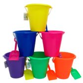 "72 Units of 6.5"" BEACH TOY BUCKET W/ SHOVEL, ASST. - Beach Toys"