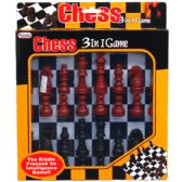 48 Units of 3 IN 1 CHESS GAME BOARD PLAY SET IN WINDOW BOX - Playing Cards, Dice & Poker