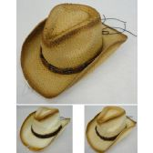 24 Units of Paper Straw Cowboy Hat [Triple/Square Beads on Hat Band] - Cowboy & Boonie Hat