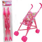 "24 Units of 20""H PLASTIC FRAME DOLL STROLLER IN POLY BAG W/ HEADER"