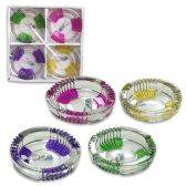 24 Units of 4PC GLASS CANDLE HOLDER ASST COLORS - CANDLE ACCESSORIES