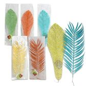 96 Units of 15 INCH GLITTERED LEAF 5 COLORS 5 COLORS ASSORTED
