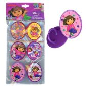 144 Units of 6PK DORA CUPCAKE TOPPER RINGS WITH STICKER ON PLASTIC INSERT IN POLYBA