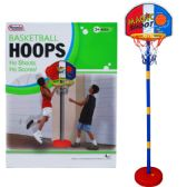 "8 Units of 60""H PLASTIC BASKETBALL PLAY SET W/15"" BACKBOARD IN COLOR BOX - Sports Toys"