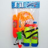 """12 Units of 17"""" WATER GUN W/BACK-BACK DOUBLE TANK IN POLY BAG W/HEADER - Water Guns"""