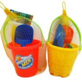"48 Units of 4.5"" BEACH TOY BUCKET W/ACCSS IN NET BAG - Summer Toys"