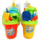 """36 Units of 5"""" BEACH TOY BUCKET W/ ACCSS IN PEGABLE NET BACK, 2 ASSRT"""