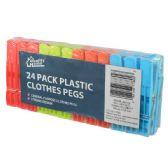 48 Units of Plastic Clothes Pins 24ct Assorted Colors - Clothes Pins