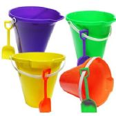 24 Units of BRIGHTLY-COLORED BEACH SHOVEL AND PAIL SETS.