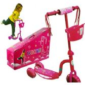 6 Units of PINK 3-WHEEL KICK SCOOTER W/LIGHTS - Summer Toys