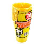96 Units of Wholesale 16OZ 16PC YELLOW PLASTIC CUPS