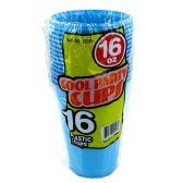 96 Units of Wholesale 16OZ 16PC BLUE PLASTIC CUPS