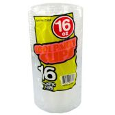96 Units of Wholesale 16OZ 16PC CLEAR PLASTIC CUPS - PLASTIC ITEMS