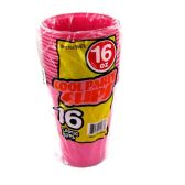 96 Units of Wholesale 16OZ 16PC PINK PLASTIC CUPS - PLASTIC ITEMS