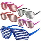 288 Units of RHINESTONE LOOK SHUTTER SHADE GLASSES. - Novelty & Party Sunglasses