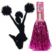 192 Units of METALIC CHEERLEADING POM-POMS - PINK. - Girls Toys