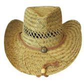 36 Units of Wholesale WHEAT STRAW BEACH HAT WITH TIE BLACK HEAD BAND SUMMER COVER - Sun Hats