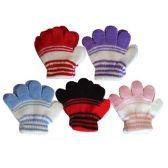 96 Units of Wholesale INFANT STRIPE WINTER KNIT GLOVE 5 COLOR 2 TONE - Winter Gloves