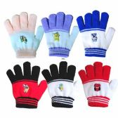96 Units of Wholesale 5.5 CHILDS STRIPE GLOVE CARTOON PATC 5 COLORED TIPS - Winter Gloves