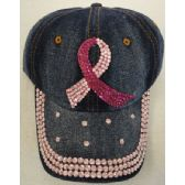 24 Units of Denim Hat with Bling *[Pink Ribbon] - Kids Baseball Caps