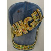 36 Units of Denim Hat with Bling *Gold [ANGEL - Kids Baseball Caps
