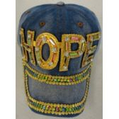 24 Units of Denim Hat with Bling *Gold [HOPE] - Baseball Caps & Snap Backs