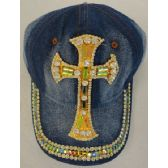 24 Units of Denim Hat with Bling *Gold [Large Cross] - Baseball Caps & Snap Backs