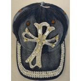 12 Units of Denim Hat with Bling *Silver [Large Cross] - Baseball Caps & Snap Backs