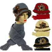 36 Units of KNIT CLOCHE HAT AND SCARF SETS - Winter Sets Scarves , Hats & Gloves