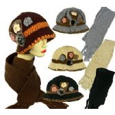 36 Units of KNIT CLOCHE HAT AND FRINGED SCARF SETS - Winter Sets Scarves , Hats & Gloves