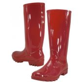 12 Units of 13.5 Inches Women's Rain Boots Red - Womens Boots