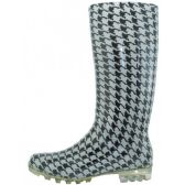 12 Units of 13.5 Inches Women's Black & White Printed Rain Boots - Womens Boots