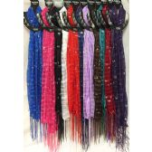 36 Units of Light Weight Scarves Solid Color with Silver Sequins