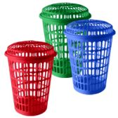 """12 Units of Tall Round Laundry Hamper with/Lid 17""""diameter .x24.5""""height - Waste Basket"""