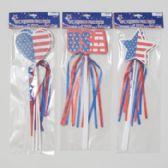 96 Units of Pick 3pk Foam Patriotic W/ribbon Streamers 3asst Star/heart/usa - 4th Of July